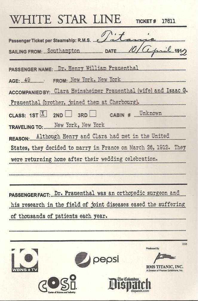 RON'S TITANIC BOARDING PASS 001