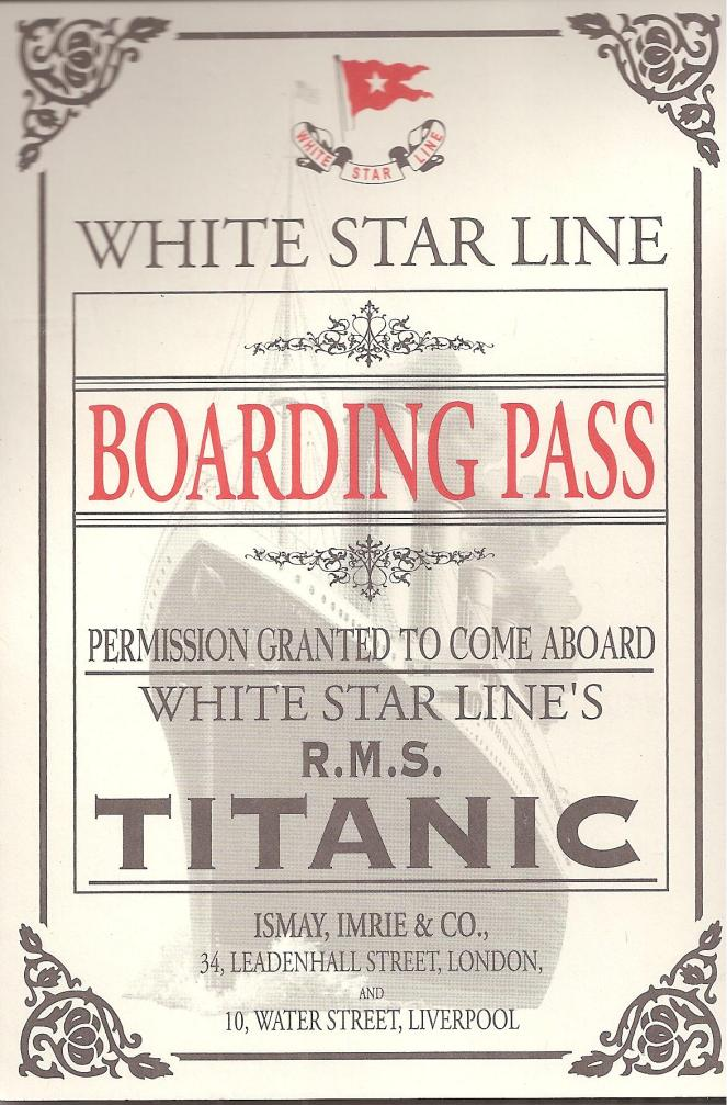 TITANIC BOARDING PASS 001