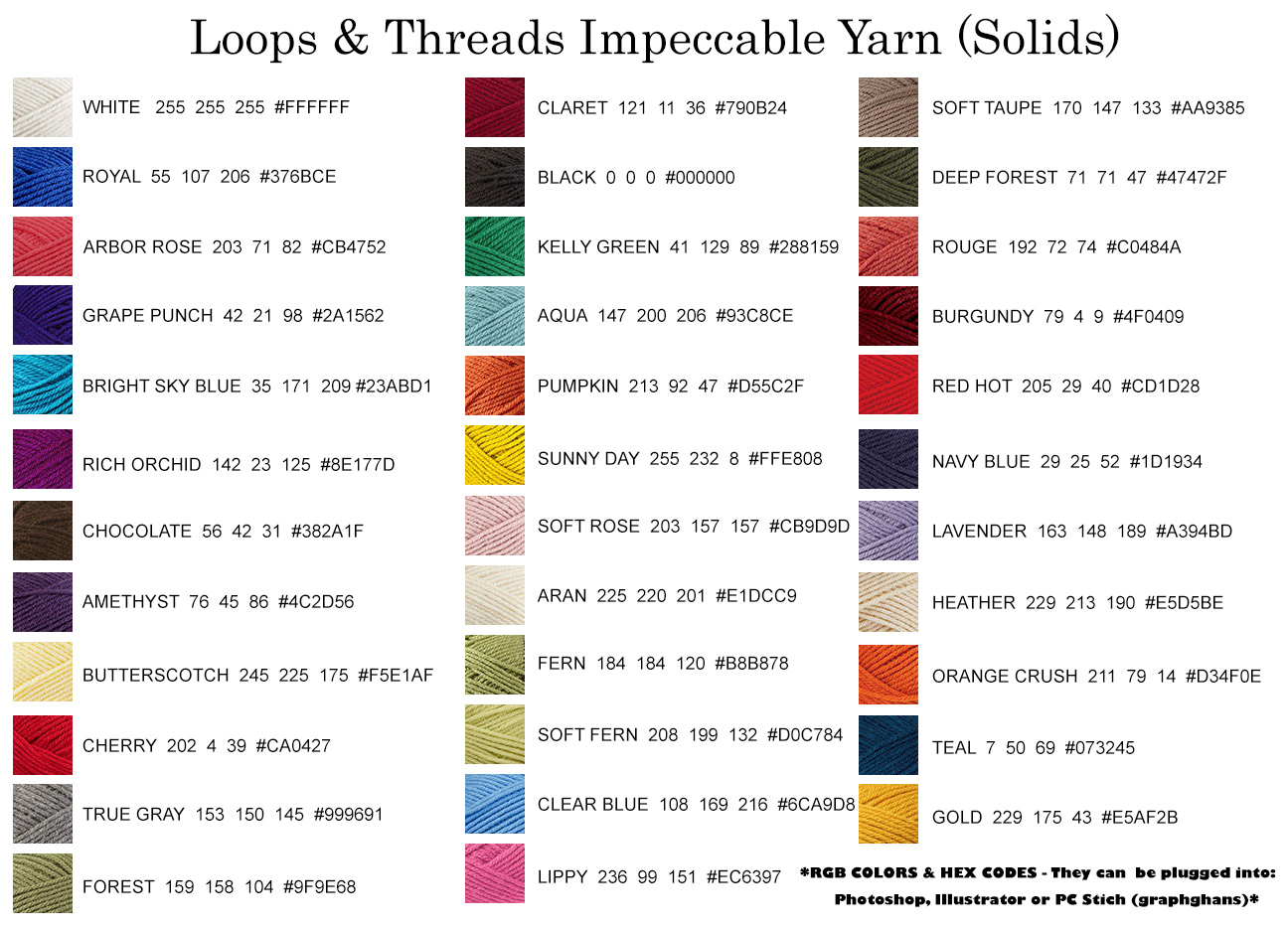 Loops and Threads Impeccable Yarn Solids RGB-HEX – Crafty Husky